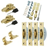 Sash Kit 50kg Pulley with Locking Fitch Fastener- Brass