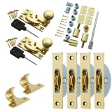 Sash Kit 50kg Pulley with Locking Hook Fastener- Brass