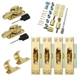 Sash Kit 80kg Pulley with Locking Fitch Fastener- Brass