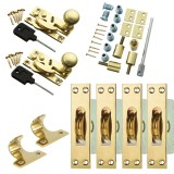 Sash Kit 80kg Pulley with Locking Hook Fastener- Brass