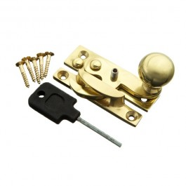 Locking Sash Fastener Hook Type with Narrow Keep (Brass)