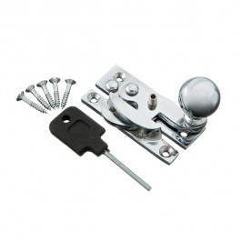 Locking Sash Fastener Hook Type with Narrow Keep (Polished Chrome)