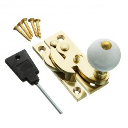 Hook Fastener- Ceramic Knob - Locking - Polished Brass
