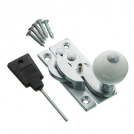 Hook Fastener- Ceramic Knob - Locking - Satin Chrome