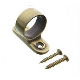 Plated Ring Pull Sash Lift - Antique Brass