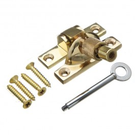 Mini Locking Brighton Sash Fastener - Solid Brass