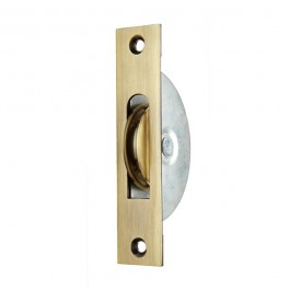"1 3/4"" Square End/Round Groove Pulley - Antique Brass"