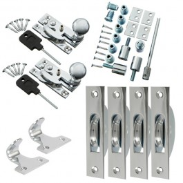 Sash Kit 50kg Pulley with Locking Hook Fastener- Chrome