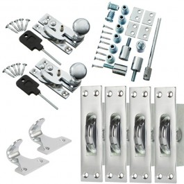 Sash Kit 80kg Pulley with Locking Hook Fastener- Chrome