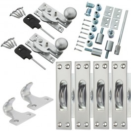 Sash Kit 80kg Pulley with Locking Hook Fastener- Satin Chrome